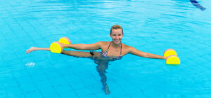 Woman doing water exercise for back pain